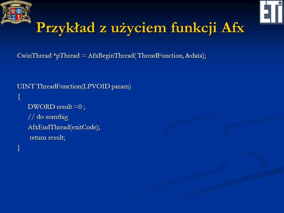Przykład z użyciem funkcji Afx