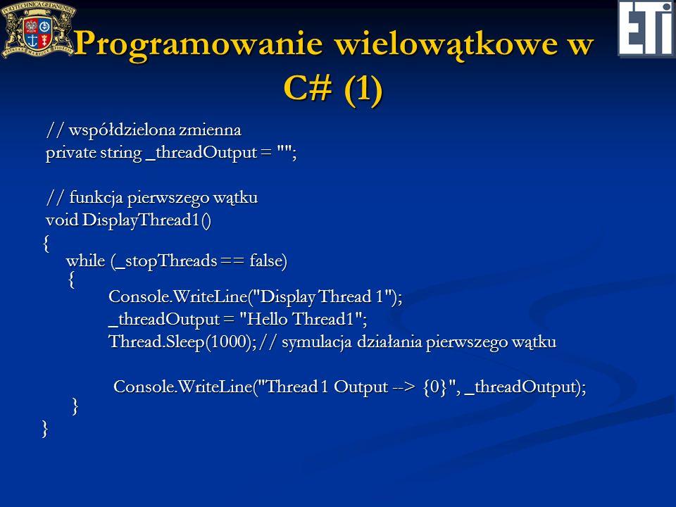 Programowanie wielowątkowe w C# (1)