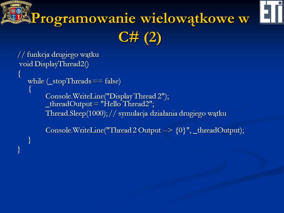Programowanie wielowątkowe w C# (2)