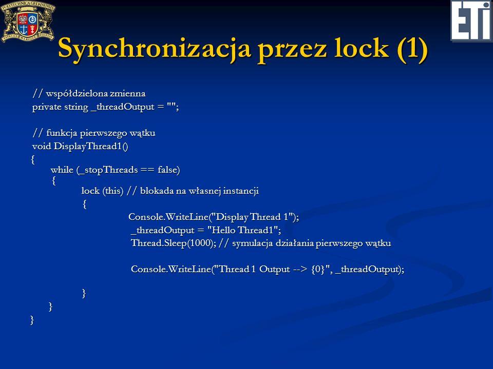 Synchronizacja przez lock (1)