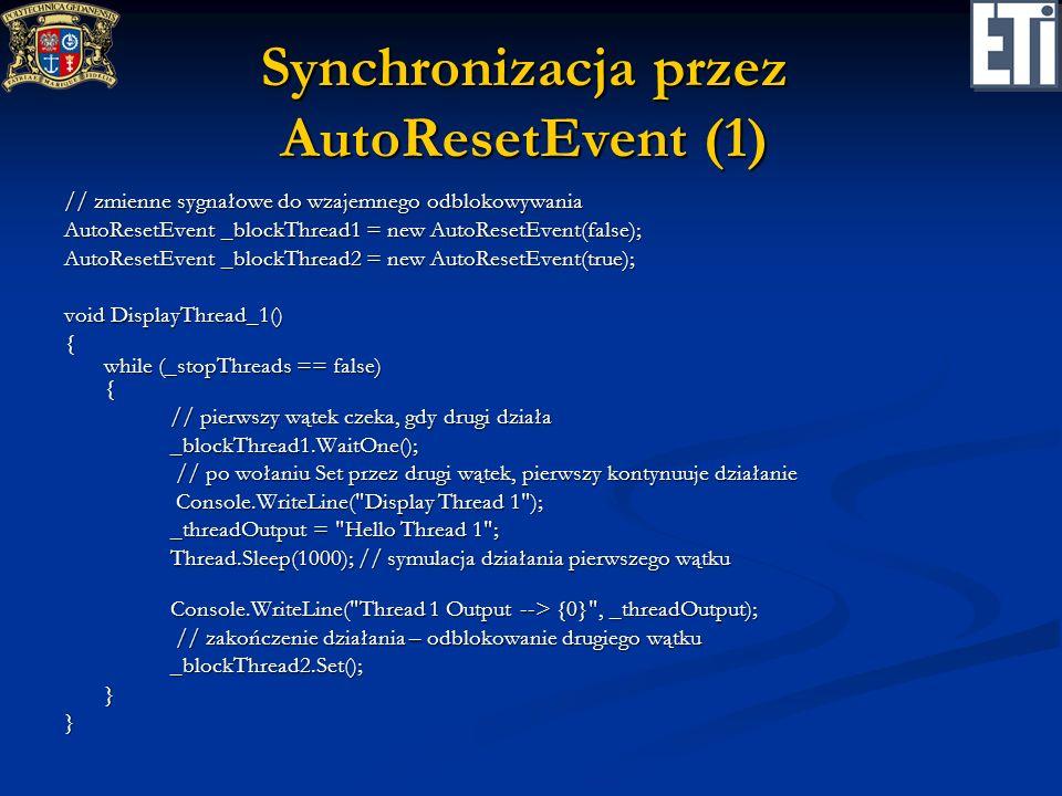 Synchronizacja przez AutoResetEvent (1)
