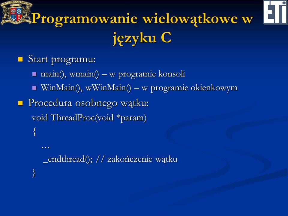 Programowanie wielowątkowe w języku C