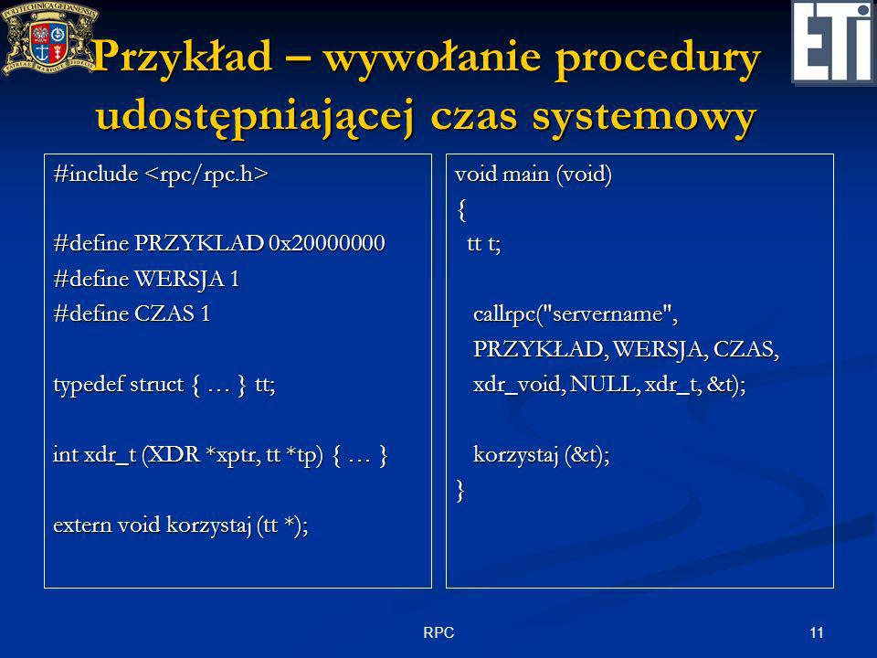Przykład – wywołanie procedury udostępniającej czas systemowy