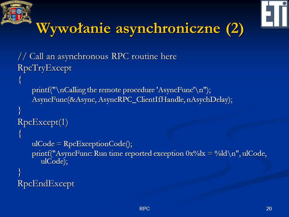 Wywołanie asynchroniczne (2)