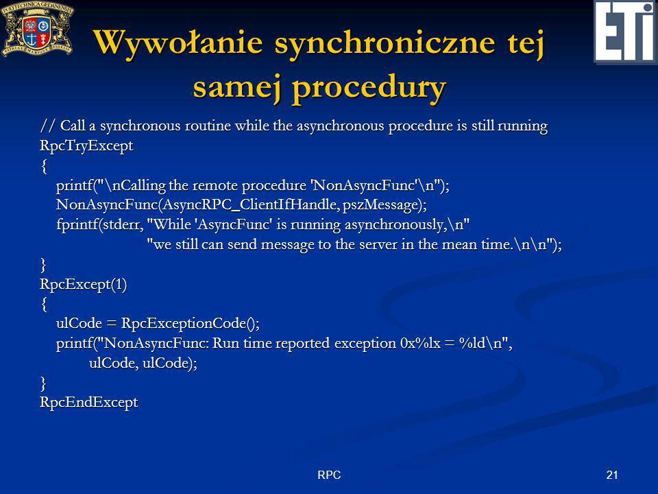 Wywołanie synchroniczne tej samej procedury