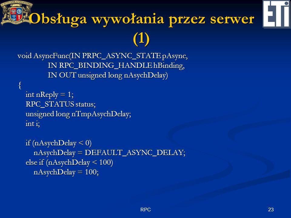 Obsługa wywołania przez serwer (1)