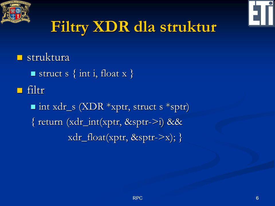 Filtry XDR dla struktur