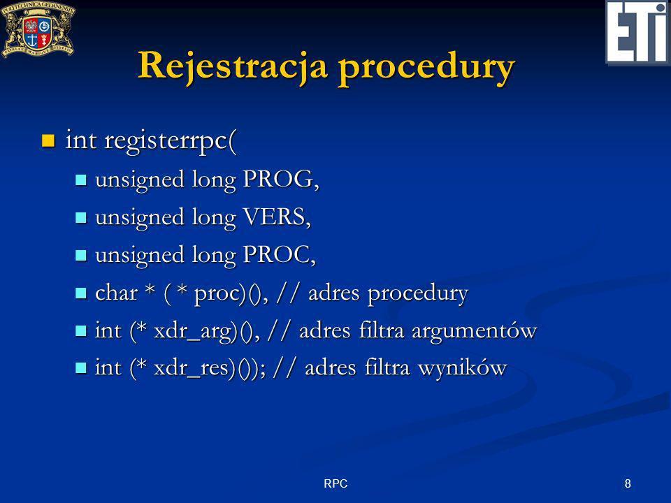 Rejestracja procedury