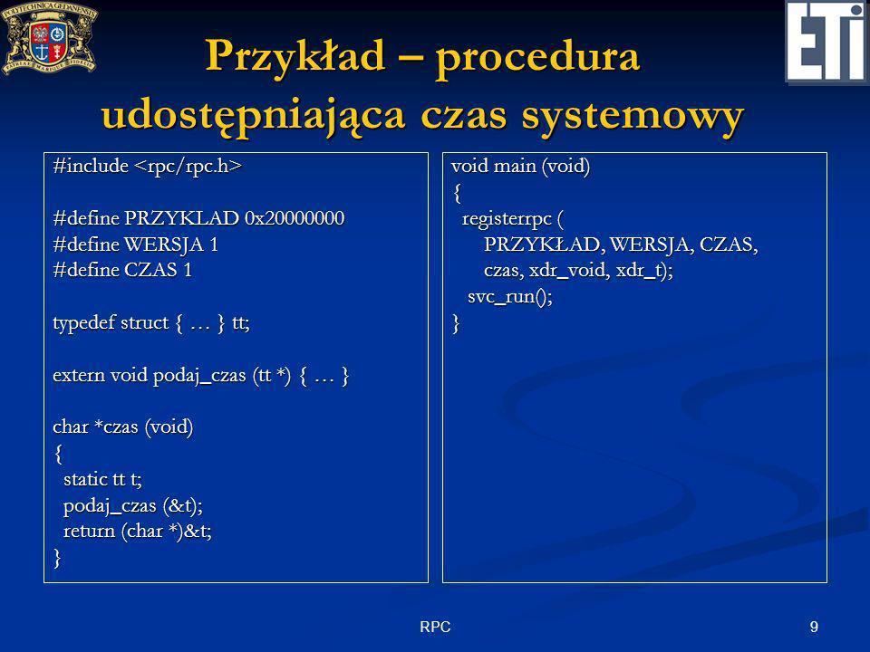 Przykład – procedura udostępniająca czas systemowy