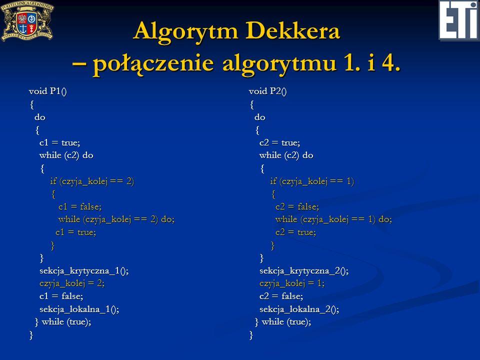 Algorytm Dekkera – połączenie algorytmu 1. i 4.
