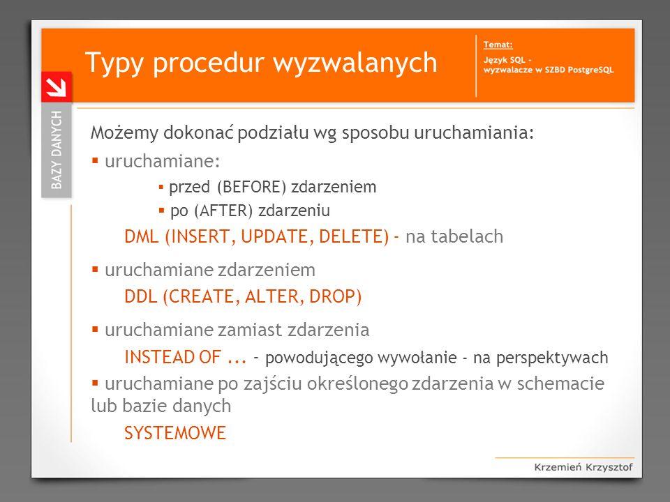 Typy procedur wyzwalanych