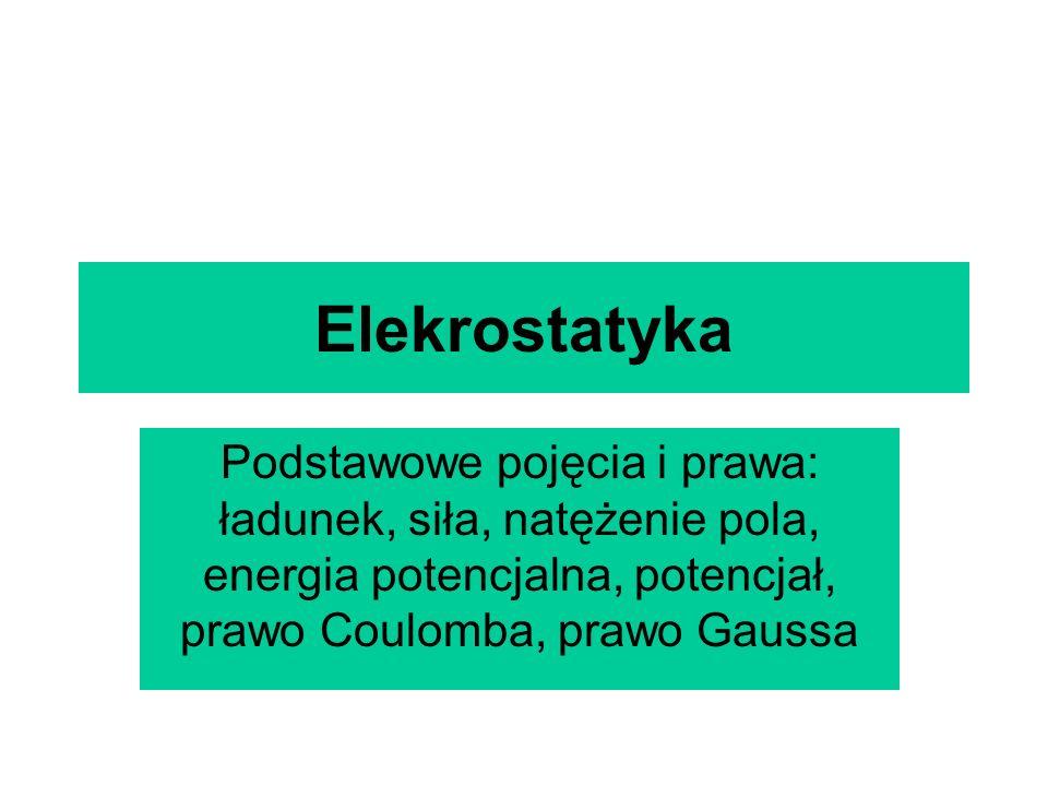 Elekrostatyka Podstawowe pojęcia i prawa: ładunek, siła, natężenie pola, energia potencjalna, potencjał, prawo Coulomba, prawo Gaussa.