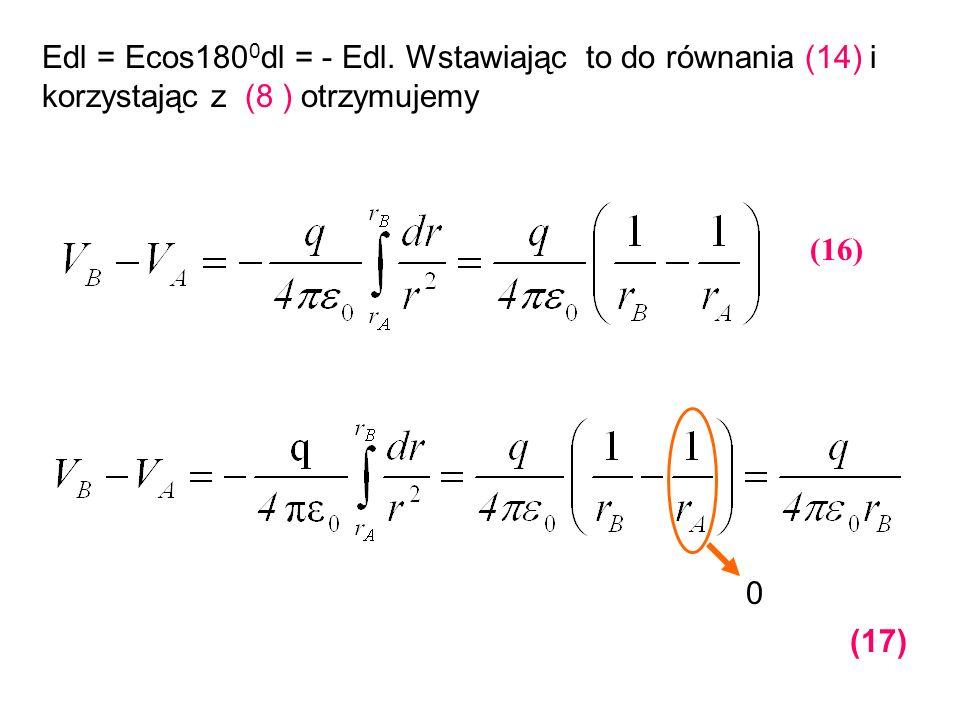 Edl = Ecos1800dl = - Edl. Wstawiając to do równania (14) i korzystając z (8 ) otrzymujemy