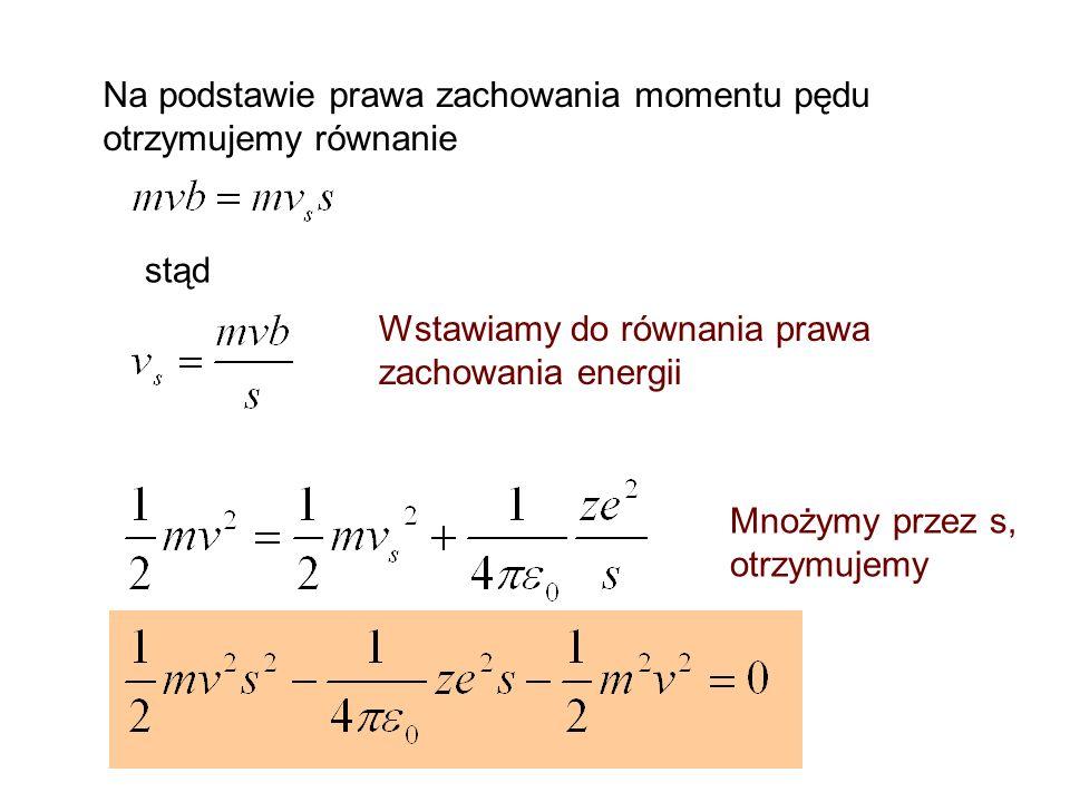 Na podstawie prawa zachowania momentu pędu otrzymujemy równanie