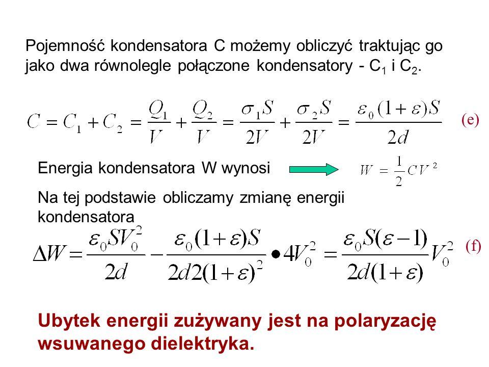 Ubytek energii zużywany jest na polaryzację wsuwanego dielektryka.