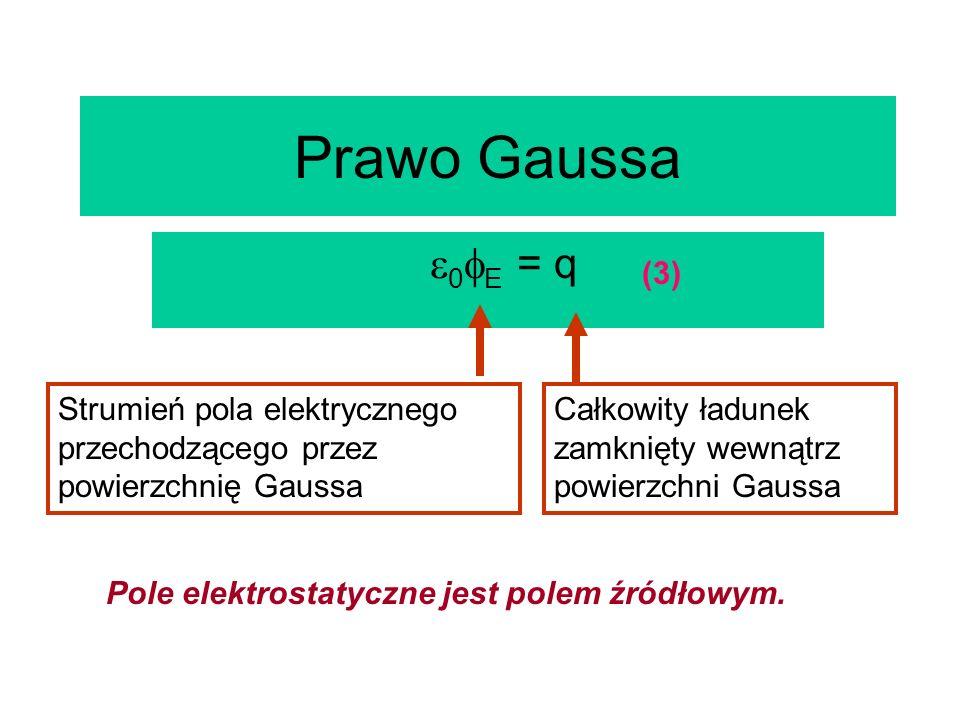 Prawo Gaussa 0E = q. (3) Strumień pola elektrycznego przechodzącego przez powierzchnię Gaussa.