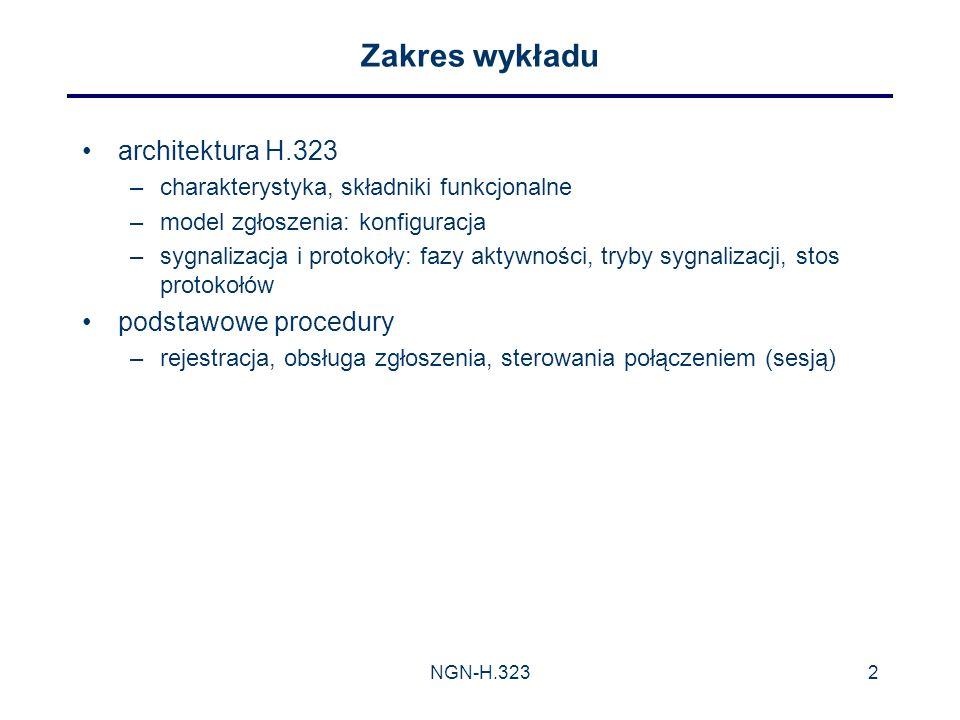 Zakres wykładu architektura H.323 podstawowe procedury