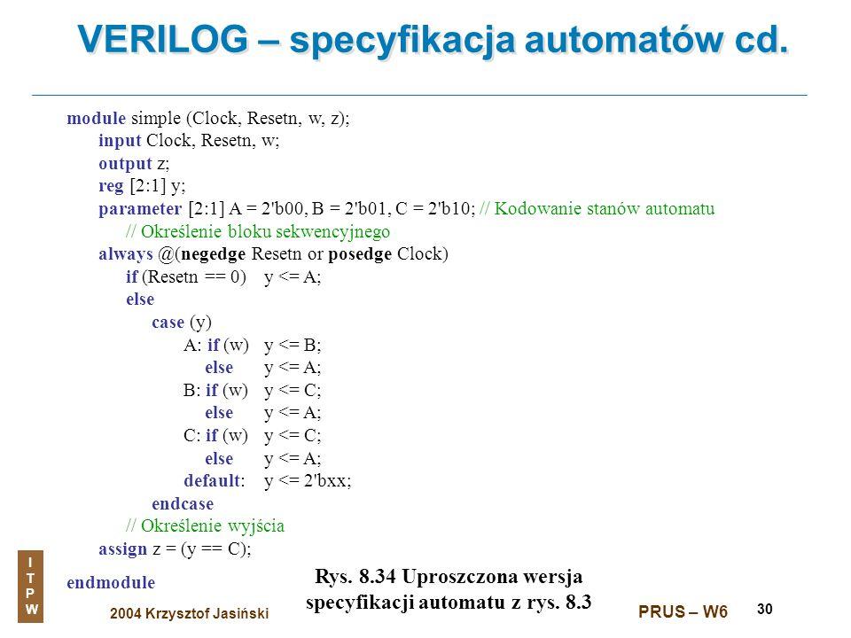 VERILOG – specyfikacja automatów cd.