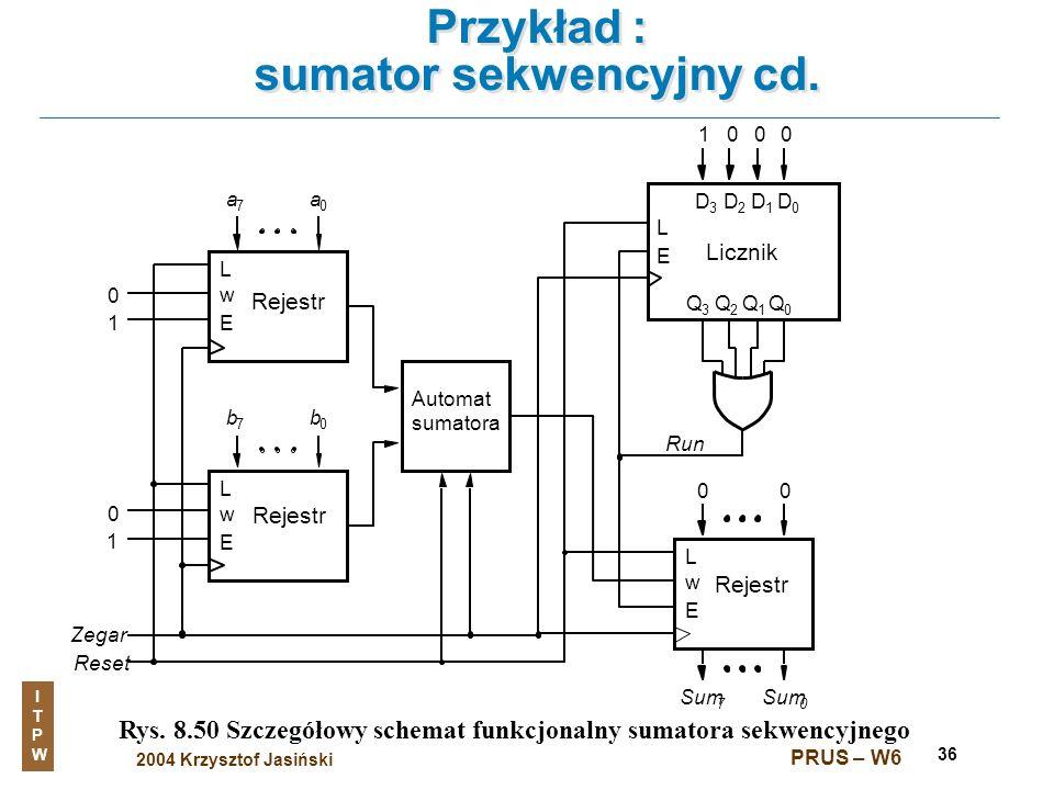 Przykład : sumator sekwencyjny cd.