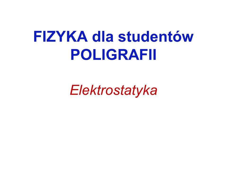 FIZYKA dla studentów POLIGRAFII Elektrostatyka