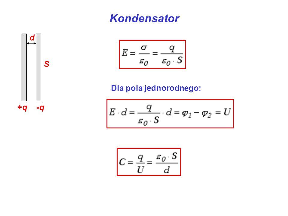 Kondensator +q -q d S Dla pola jednorodnego: