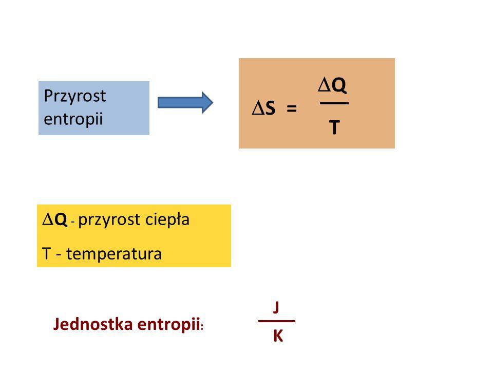 Q S = T Przyrost entropii Q - przyrost ciepła T - temperatura