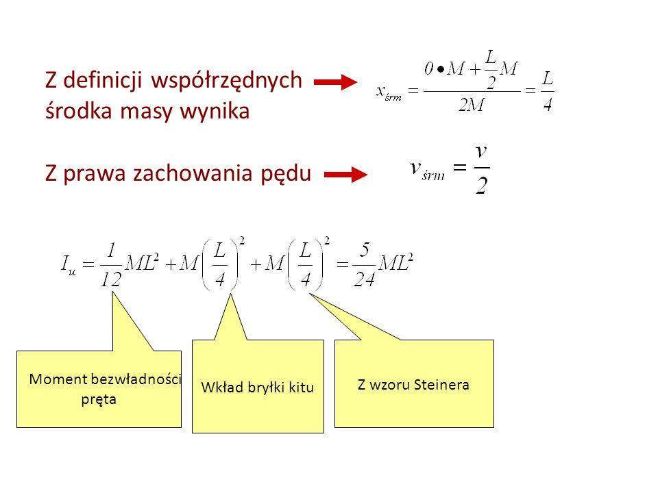 Z definicji współrzędnych środka masy wynika