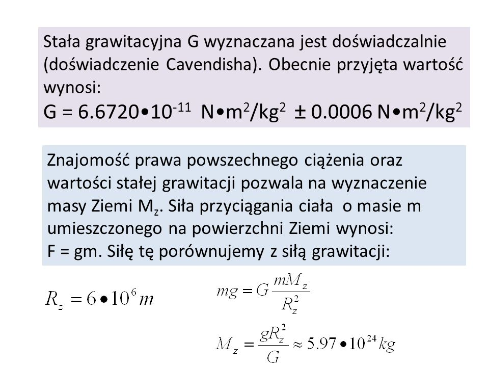 Stała grawitacyjna G wyznaczana jest doświadczalnie (doświadczenie Cavendisha). Obecnie przyjęta wartość wynosi: