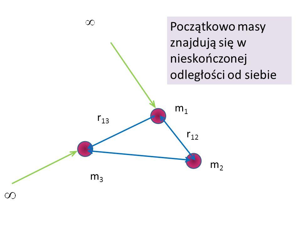 Początkowo masy znajdują się w nieskończonej odległości od siebie
