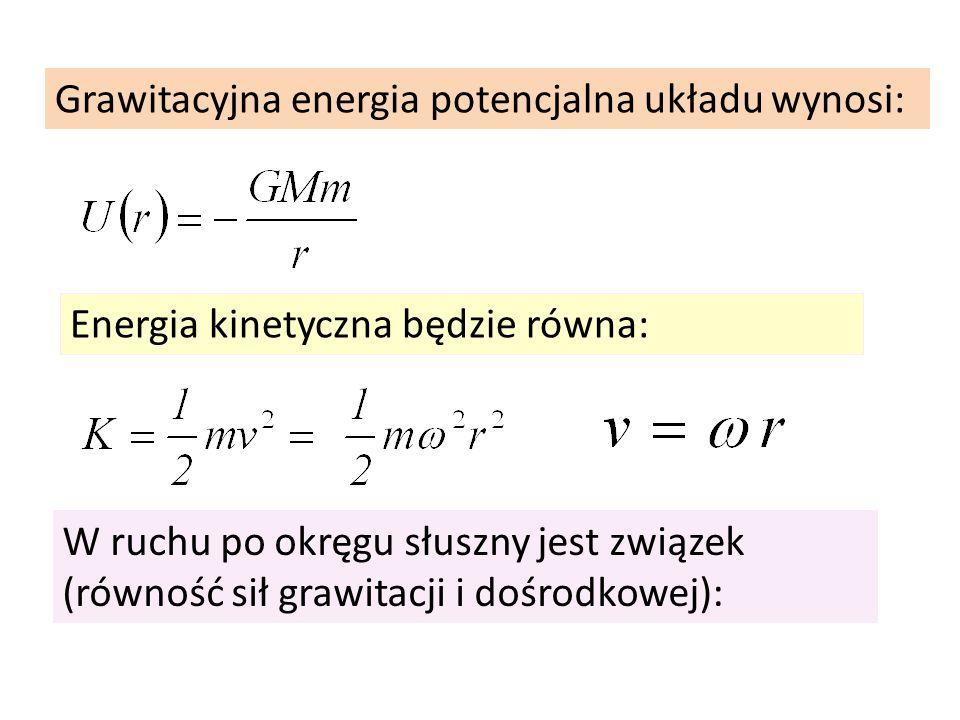 Grawitacyjna energia potencjalna układu wynosi: