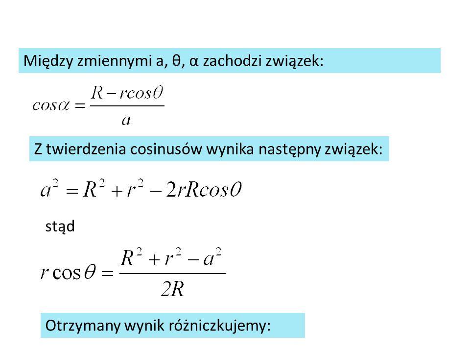 Między zmiennymi a, θ, α zachodzi związek: