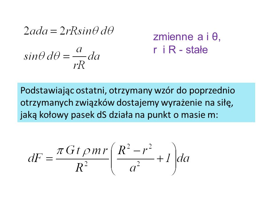 zmienne a i θ, r i R - stałe