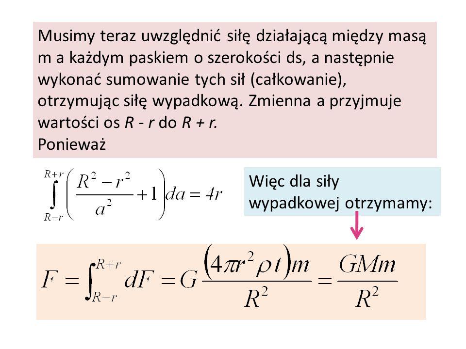 Musimy teraz uwzględnić siłę działającą między masą m a każdym paskiem o szerokości ds, a następnie wykonać sumowanie tych sił (całkowanie), otrzymując siłę wypadkową. Zmienna a przyjmuje wartości os R - r do R + r.