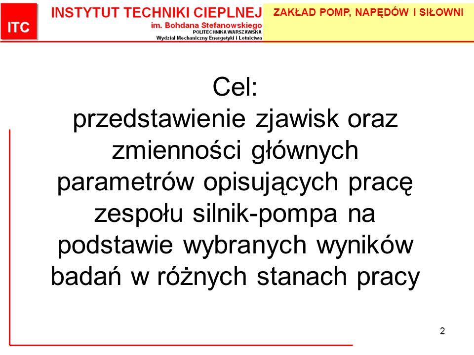 Cel: przedstawienie zjawisk oraz zmienności głównych parametrów opisujących pracę zespołu silnik-pompa na podstawie wybranych wyników badań w różnych stanach pracy
