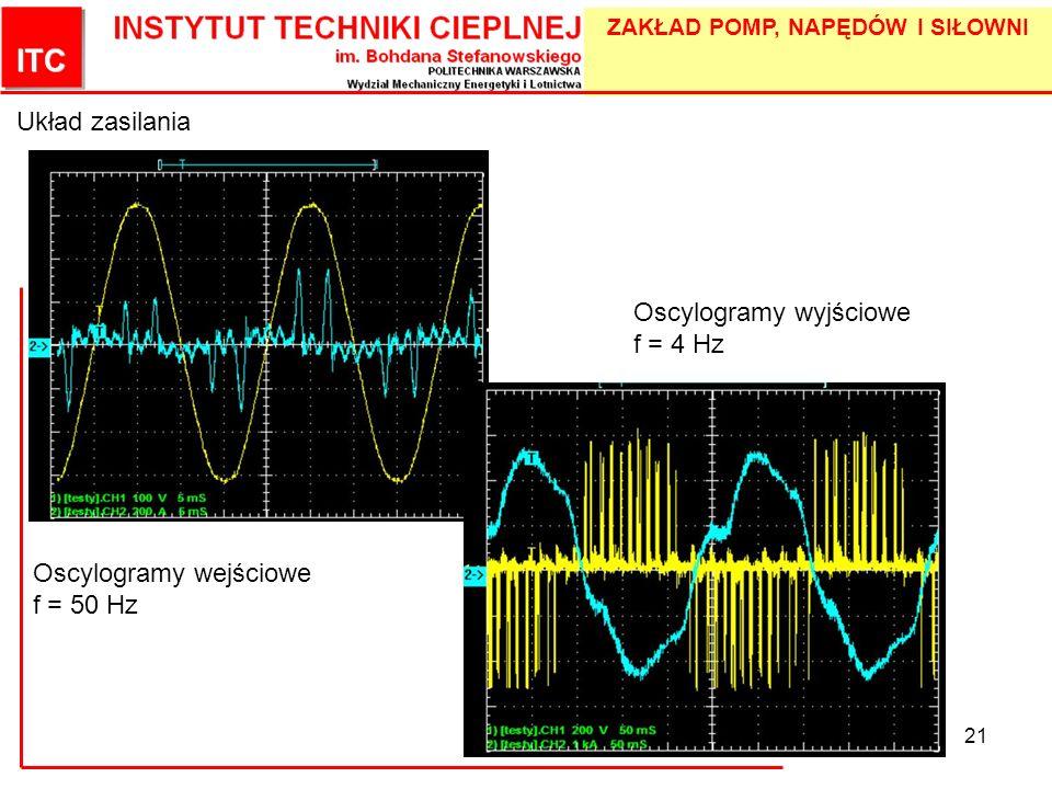 Układ zasilania Oscylogramy wyjściowe f = 4 Hz Oscylogramy wejściowe f = 50 Hz