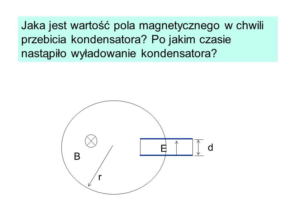 Jaka jest wartość pola magnetycznego w chwili przebicia kondensatora