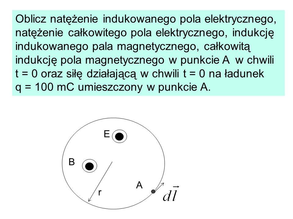 Oblicz natężenie indukowanego pola elektrycznego, natężenie całkowitego pola elektrycznego, indukcję indukowanego pala magnetycznego, całkowitą indukcję pola magnetycznego w punkcie A w chwili t = 0 oraz siłę działającą w chwili t = 0 na ładunek q = 100 mC umieszczony w punkcie A.