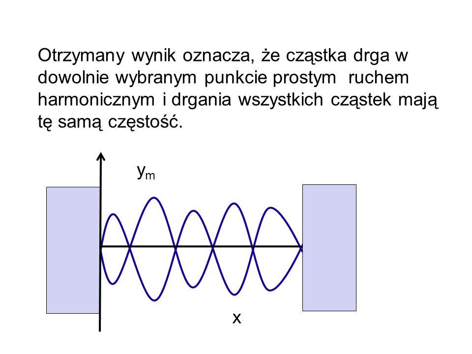 Otrzymany wynik oznacza, że cząstka drga w dowolnie wybranym punkcie prostym ruchem harmonicznym i drgania wszystkich cząstek mają tę samą częstość.
