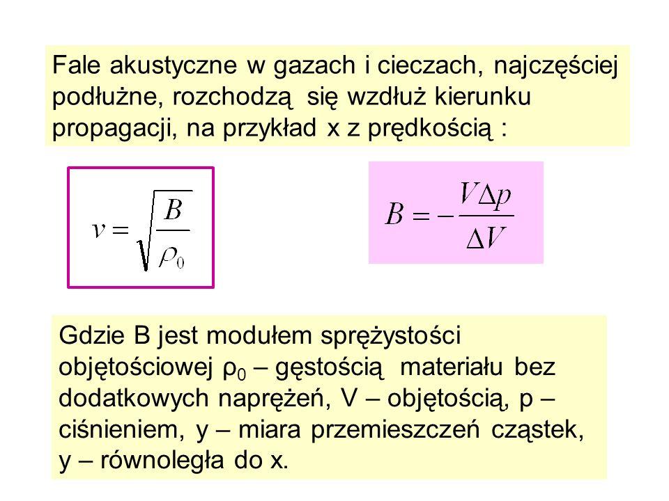 Fale akustyczne w gazach i cieczach, najczęściej podłużne, rozchodzą się wzdłuż kierunku propagacji, na przykład x z prędkością :