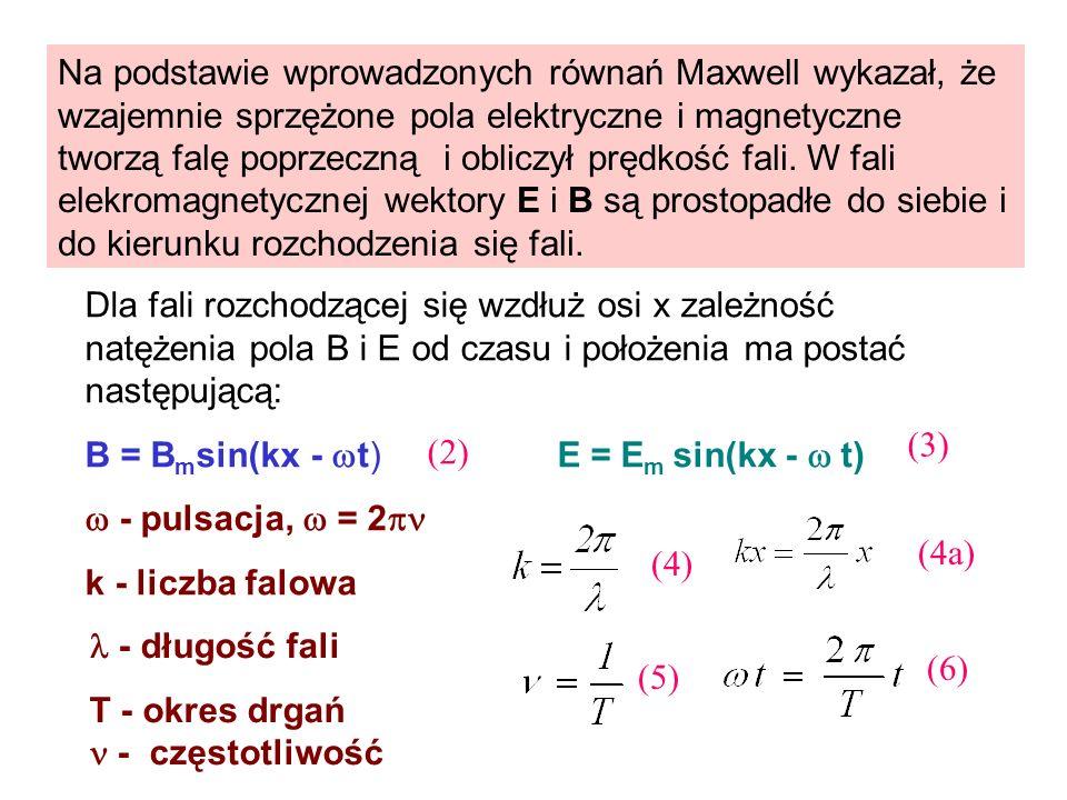 Na podstawie wprowadzonych równań Maxwell wykazał, że wzajemnie sprzężone pola elektryczne i magnetyczne tworzą falę poprzeczną i obliczył prędkość fali. W fali elekromagnetycznej wektory E i B są prostopadłe do siebie i do kierunku rozchodzenia się fali.