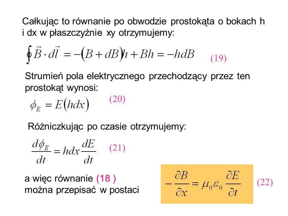 Całkując to równanie po obwodzie prostokąta o bokach h i dx w płaszczyźnie xy otrzymujemy: