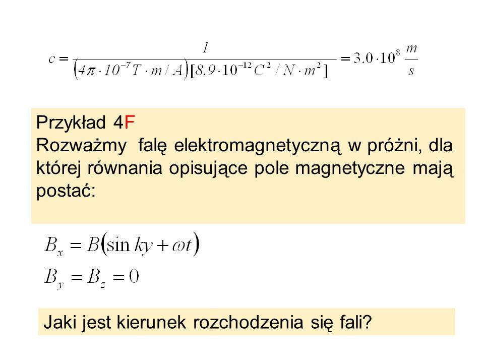 Przykład 4F Rozważmy falę elektromagnetyczną w próżni, dla której równania opisujące pole magnetyczne mają postać: