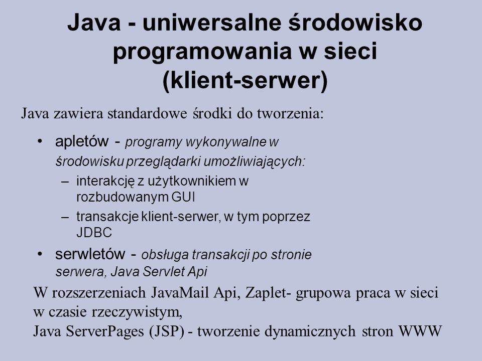 Java - uniwersalne środowisko programowania w sieci (klient-serwer)