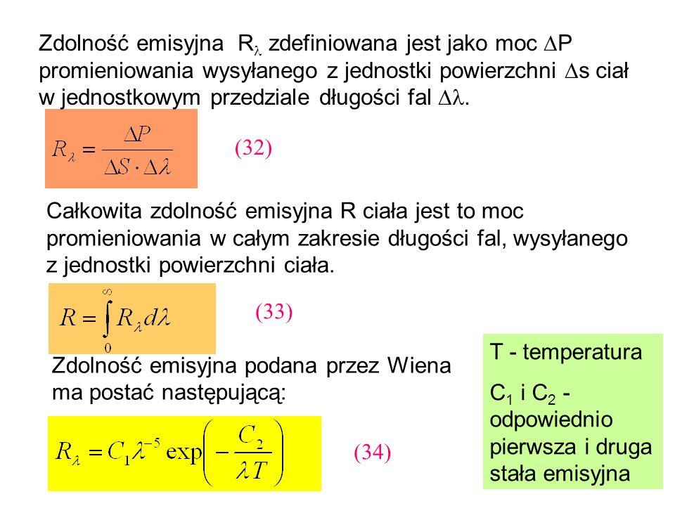 Zdolność emisyjna R zdefiniowana jest jako moc P promieniowania wysyłanego z jednostki powierzchni s ciał w jednostkowym przedziale długości fal .
