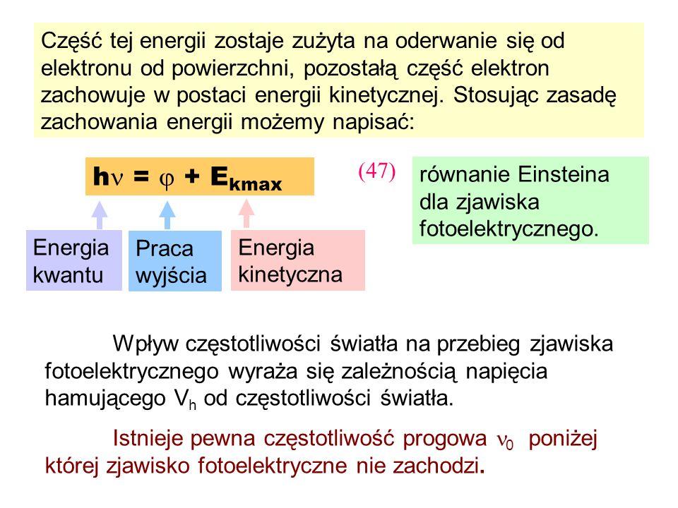 Część tej energii zostaje zużyta na oderwanie się od elektronu od powierzchni, pozostałą część elektron zachowuje w postaci energii kinetycznej. Stosując zasadę zachowania energii możemy napisać: