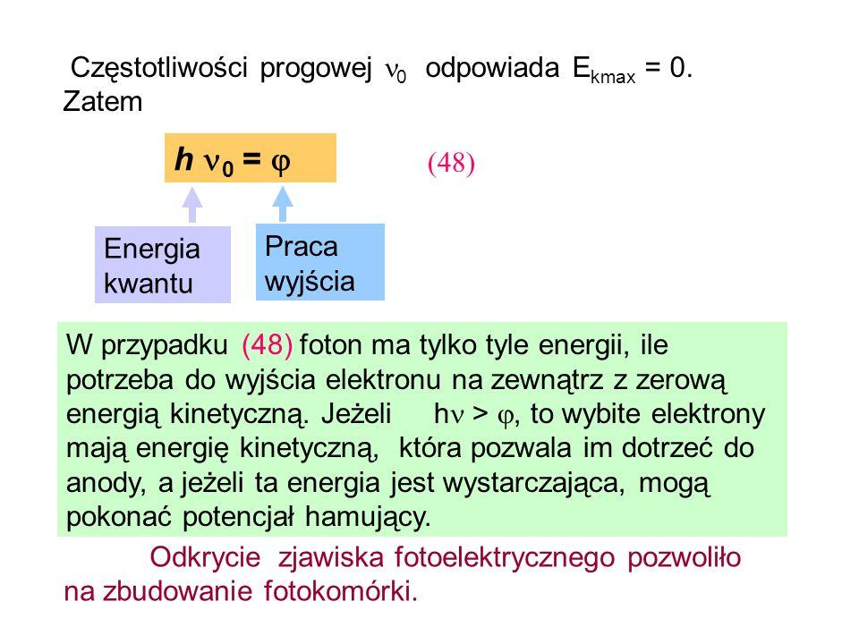 h 0 =  Częstotliwości progowej 0 odpowiada Ekmax = 0. Zatem (48)