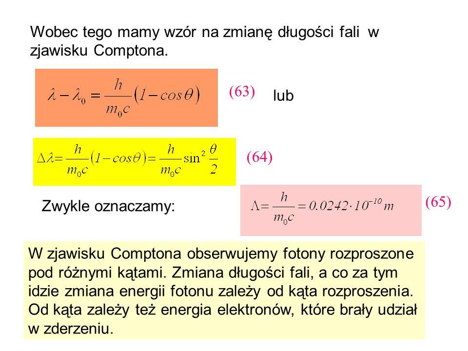 Wobec tego mamy wzór na zmianę długości fali w zjawisku Comptona.