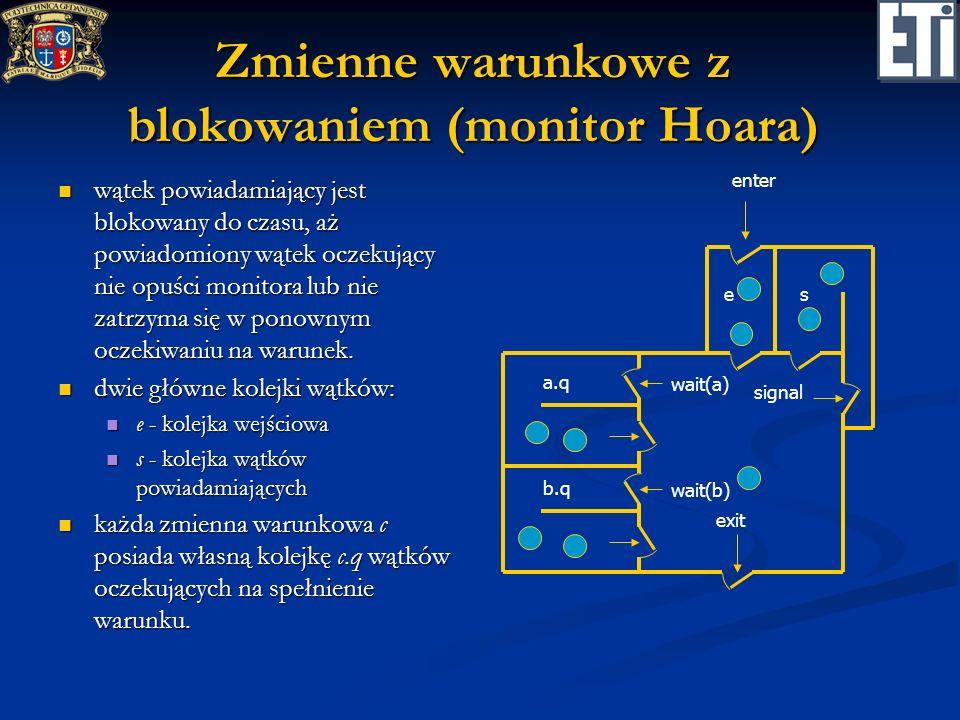 Zmienne warunkowe z blokowaniem (monitor Hoara)