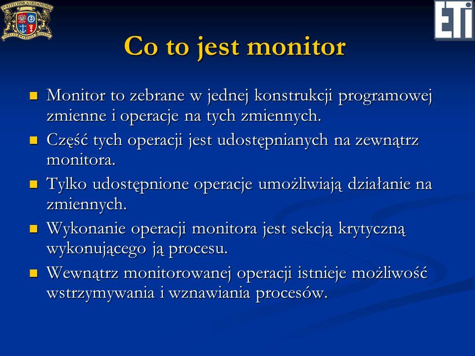 Co to jest monitorMonitor to zebrane w jednej konstrukcji programowej zmienne i operacje na tych zmiennych.