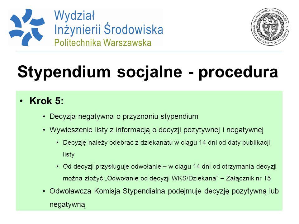Stypendium socjalne - procedura